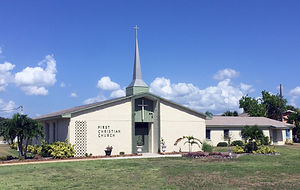 Front view of the First Christian Church of Cocoa Beach