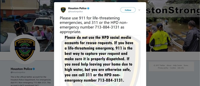 HPD stops use of their social media accounts for rescue requests