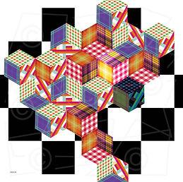 bandana : Cube1  55x55cm 100%katoen - zakdoek.info