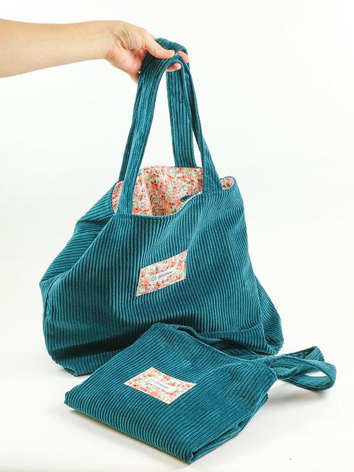 Grand sac en velours vert