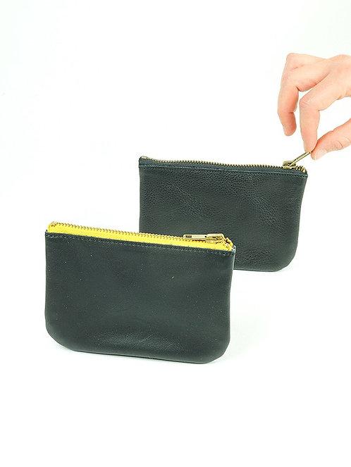 Porte monnaie en cuir noir