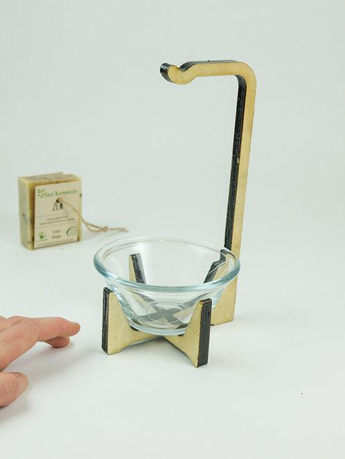 Porte savon avec coupelle en verre