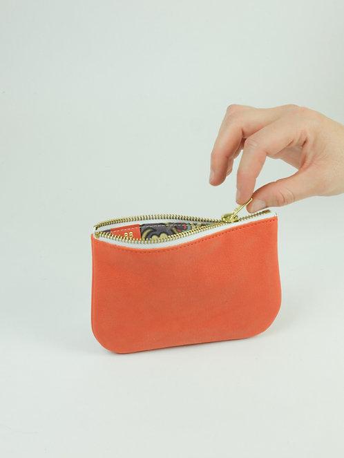 Porte monnaie en cuir corail