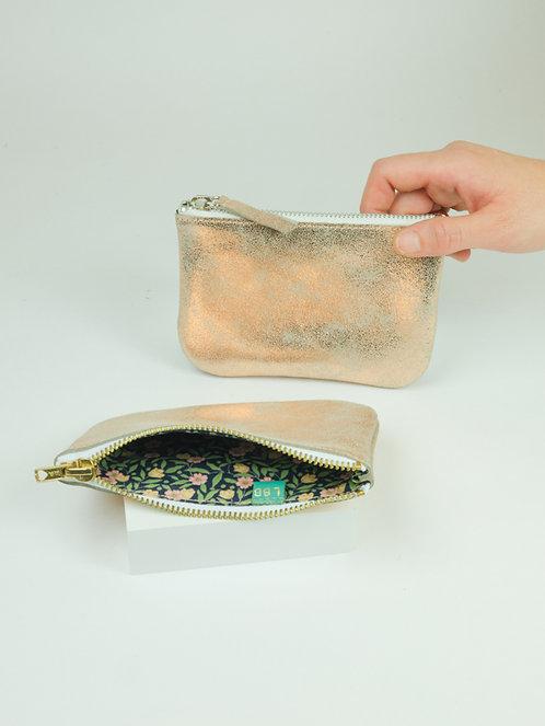 Porte monnaie en cuir pailleté cuivré