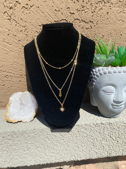 Triple-layered gold plated citrine necklace