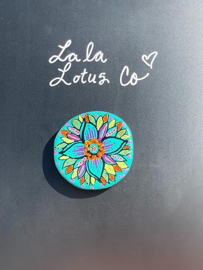 Teal Lotus Magnet