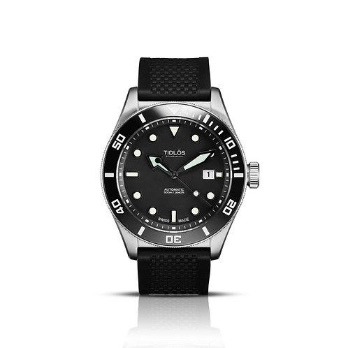 Tidlos Marin 44mm black dial black bezel rubber strap gents automatic divers watch