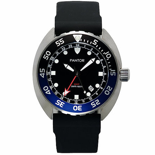 Pantor nautilus GMT quartz black blue turtle divers watch