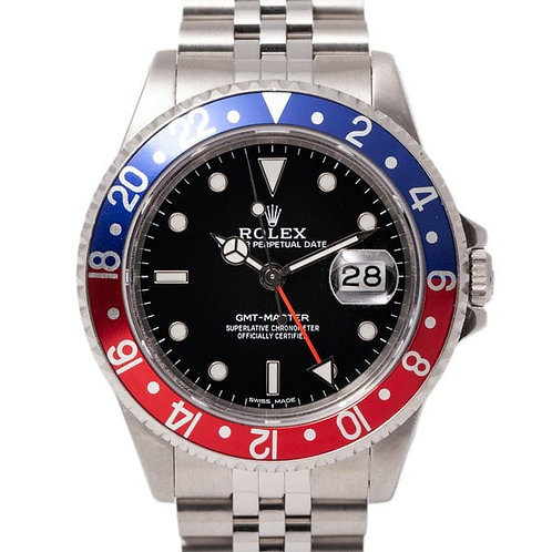 Rolex GMT-Master II 40mm Pepsi Blue and Red Bezel Black Dial Jubilee Bracelet