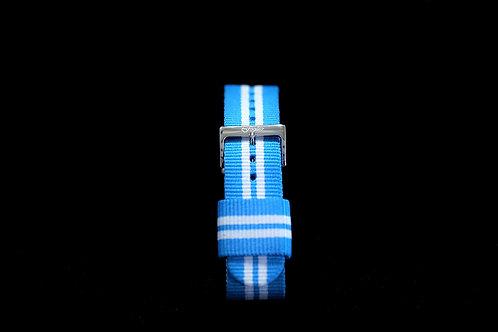 Nylon Nato Strap - Argentina Blue/White