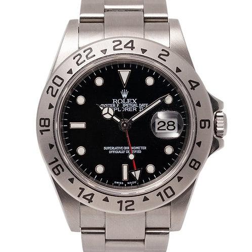 Rolex Explorer II 40mm Black Dial Oystersteel Bracelet GMT Watch