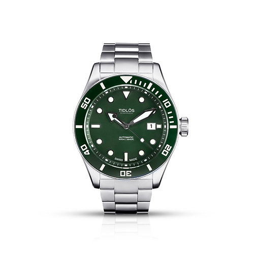 Tidlos Marin 44mm green dial green bezel stainless steel automatic mens divers watch