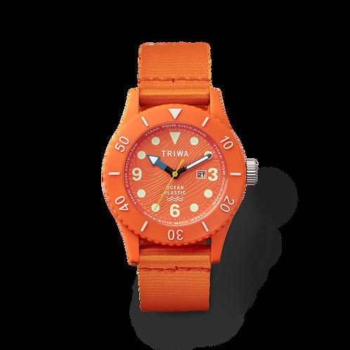 Triwa SUB ocean plastic orange quartz gents divers watch