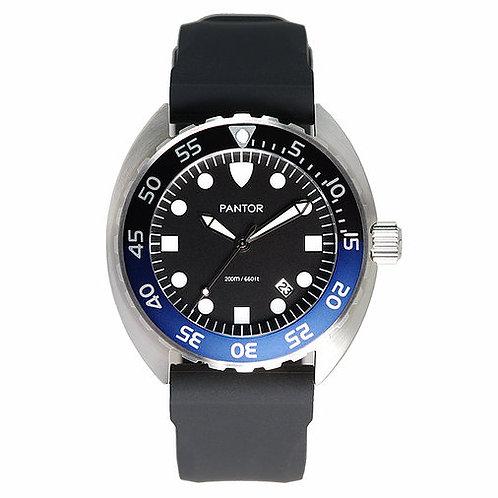 Pantor Nautilus quartz black blue turtle divers watch