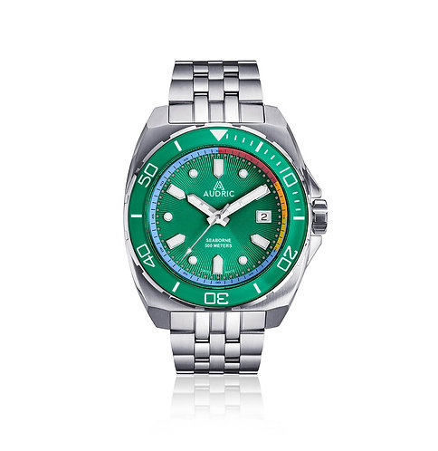 Audric Seaborne summer green dial divers watch