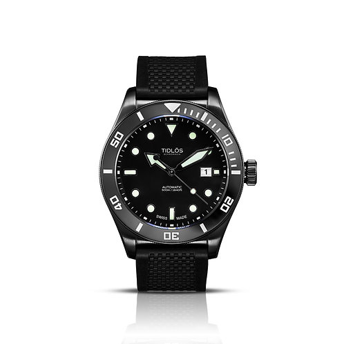 Tidlos Marin 44mm black dial black PVD case rubber strap gents automatic divers watch