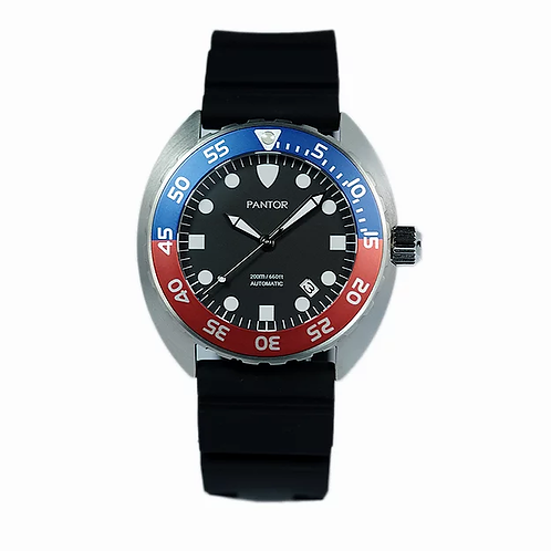 Pantor nautilus blue red automatic turtle divers watch