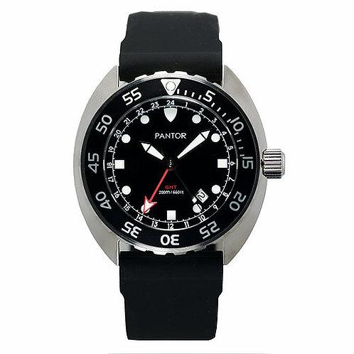 Pantor Nautilus GMT quartz black turtle gents divers watch
