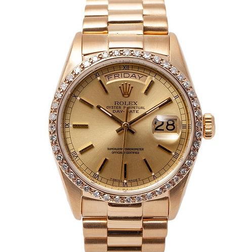 Rolex Day-Date 36 Yellow Gold Champagne Dial Diamond Bezel on President Bracelet