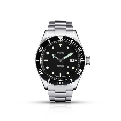 Tidlos Marin 44mm black dial stainless steel bracelet gents divers watch