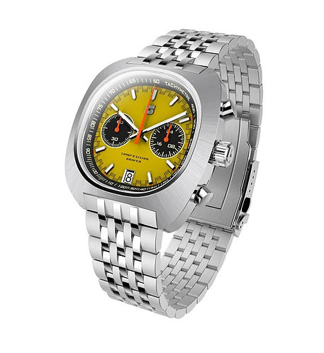 Straton comp driver gents yellow dial chronograph watch