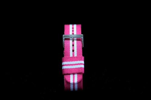 Nylon Nato Strap - Pink/White