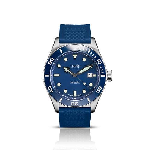 Tidlos Marin 44mm blue dial blue bezel rubber strap gents automatic divers watch