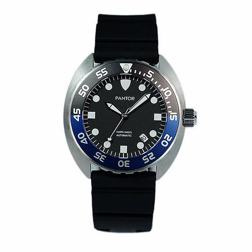 Pantor nautilus black blue automatic turtle divers watch