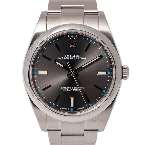 Rolex 39mm Oyster Perpetual Grey Dial Automatic Watch