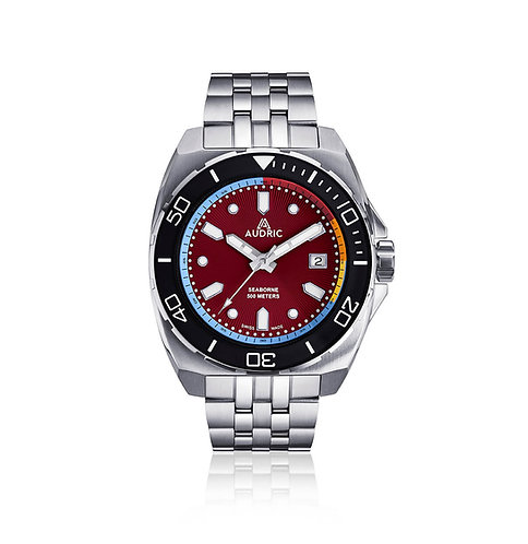 Audric Seaborne red dial divers watch