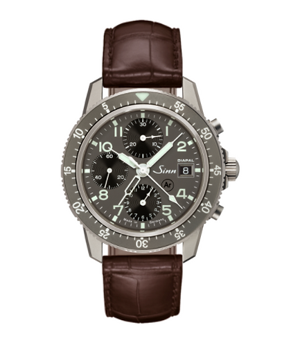 Sinn 103 Ti Diapal automatic wristwatch on brown leather starp