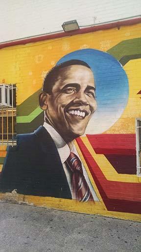 President Barack Obama mural, Ben's Chili Bowl, U Street, Washington DC