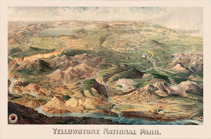1904 painting of Yellowstone National Park