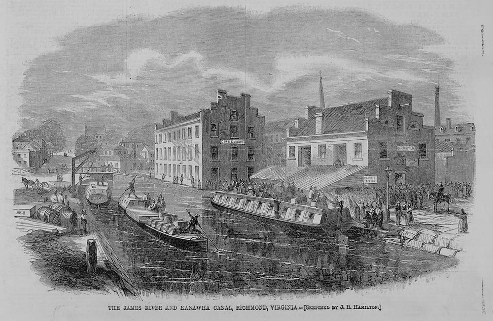 Shockoe Bottom at the Kanawha Canal, Richmond, Virginia, in 1865