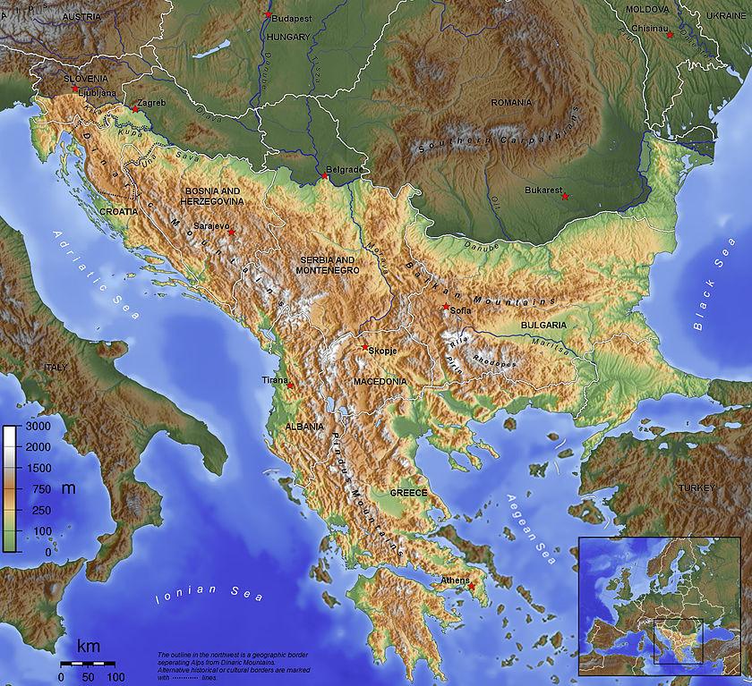 Map of the Balkan peninsulva