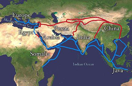Silk Road routes across Asia