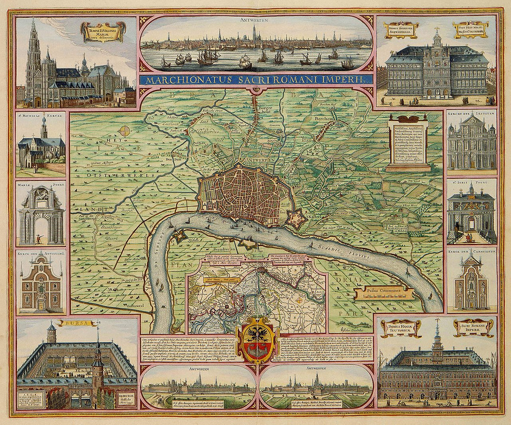 1624 map of Antwerp, Belgium