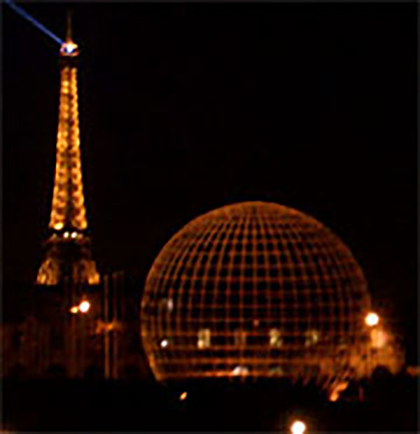 Globe and view of the Eiffel Tower at UNESCO, Paris, France
