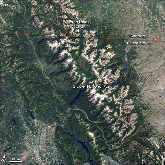 Glacier National Park 2001 satellite image