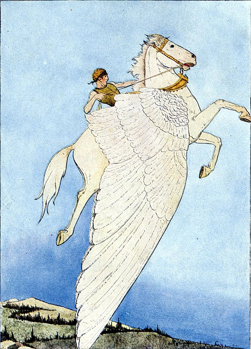 Bellerophon riding the winged horse Pegasus