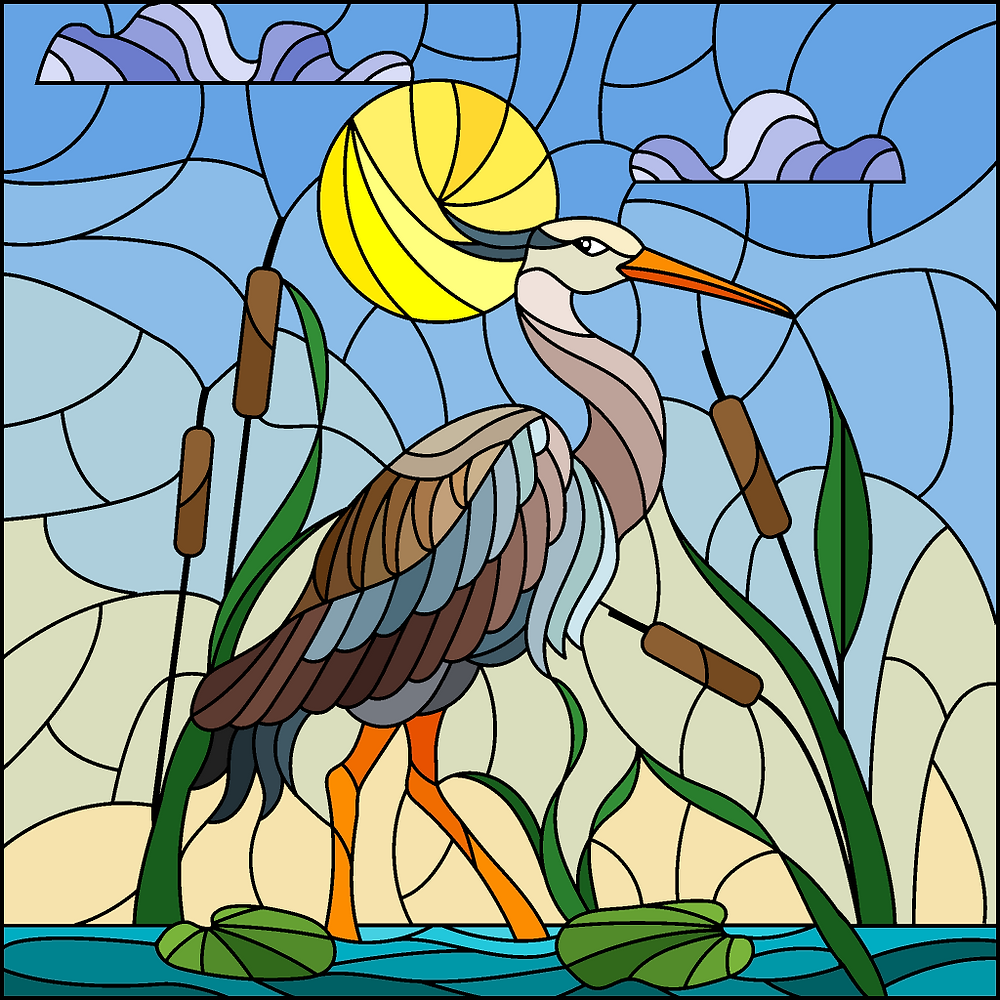 Stained glass pelican