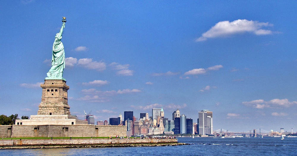 Statue of Liberty and New York skyline, NPS photo