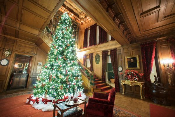 Mills Mansion, Staatsburgh, New York at Christmas