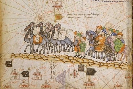 1380 illustration of a Silk Road caravan