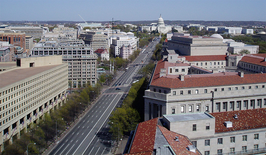Pennsylvania Avenue from the Old Post Office Building clock tower, Washington DC
