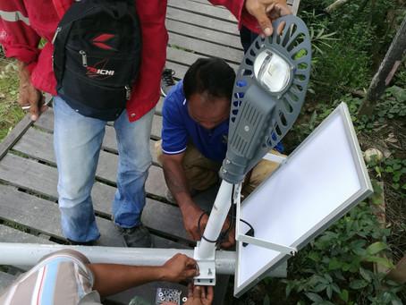 Solar Street Light installation in  Sri Aman