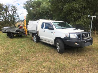Trailer mounted hydraulic soil corer, samples to 1.5m depth