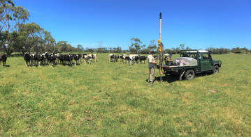 Dairy farm ERF carbon farming project.  Soil sampling using the hydraulic soil corer