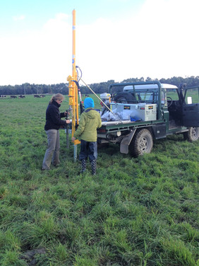 Hydraulic soil coring and sampling for carbon for a Monash University carbon project around Colac VIC
