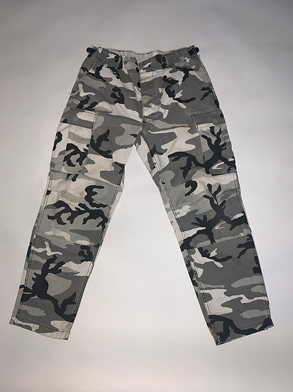 Vintage Black, White & Gray Camo Pants